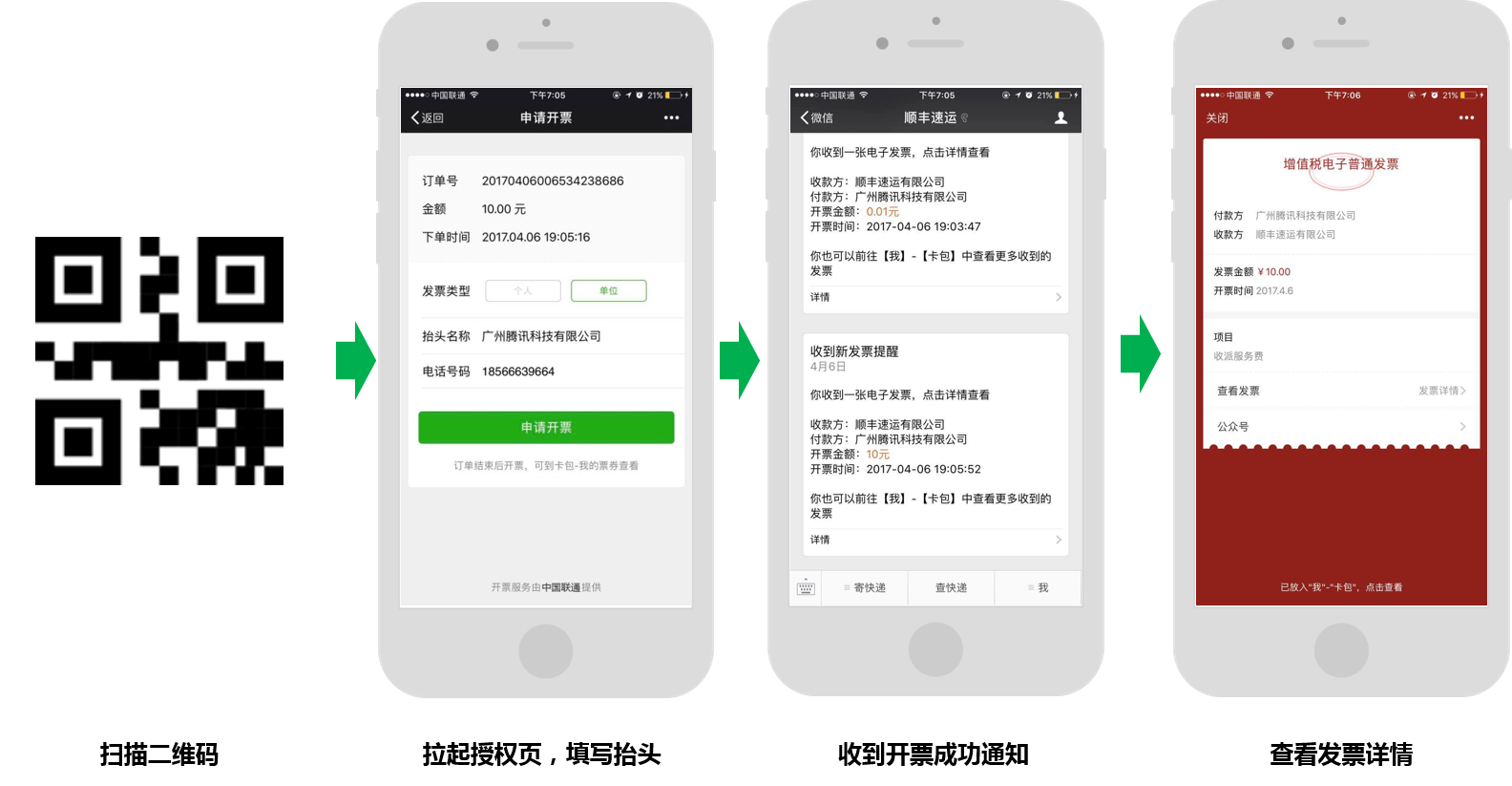 Invoicing by scanning QR code